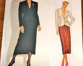 Vogue 1062 Calvin Klein Tulip Skirt, Jacket Womens Misses Vintage 1980s American Designer Sewing Pattern Size 10 Bust 32 Uncut Factory Folds