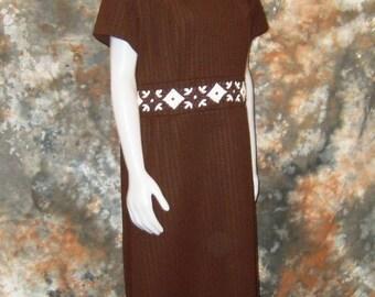60s MOD Dress Plus Size Dress Brown Dress MOD Plus Size Day Dress 1960s Shift Dress Plus Size Shift Dress Short Sleeve Dress  MOD 60s Dress