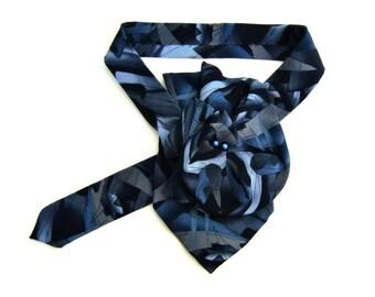 """J. Garcia Ladies Silk Scarf, Ladies Ascot, EcoFashion Silk Scarflette, Women's Accessory, """"Pine & Rock"""" silk necktie necklace a gift for her"""