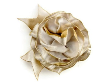 Ivory Gold Ribbon Corsage Pin, Floral Hair Accessory, Ribbon Hair Bow, Gift wrap ribbon bow, Handmade Accessory Bow, elegant ribbon bow