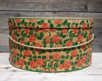 1950s' Rose Floral Pattern Wallpaper Hat Box