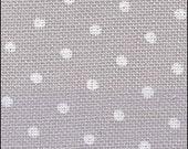WHITE DOTS on GRAY counted cross stitch fabric : 32 ct. count Polka dots Belfast Linen hand embroidery Kawaii Zakka needlework