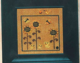 Yellow World of Color Snapper Series cross stitch pattern INCLUDES embellishments by Bent Creek at cottageneedle.com sunflower bees