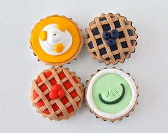 Pie Magnet Set - Blueberry Pie, Key Lime Pie, Banana Cream Pie, Cherry Pie