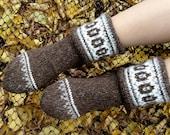 Wool Socks EU Size 36 - 38 - Fair Isle Hand Knitted Women's Woolen Socks - 100% Natural Organic Clothing