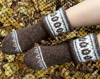 Wool Socks EU Size 36 - 38 - Fair Isle Hand Knitted Women's Woolen Socks - 100% Natural Organic Clothing