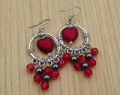 Valentine's Earrings red heart earrings drop earrings dangle earrings valentine's jewelry beaded earrings long earrings prom earrings