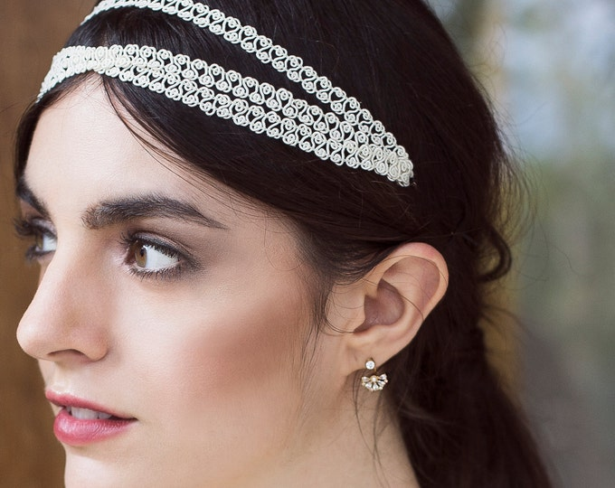 Fitzgerald ear jackets - 3 parts earrings - Vermeil 18k and gold plated ear cuff - rhinestone 20s bridal earrings - reign