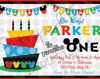 Mickey Mouse inspired birthday invitation l Disney l Polka Dot l 5x7 I Instant Download I Modern