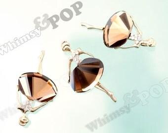 1 - Gold Tone Mirror Champagne Ballet Dancer Ballerina Crystal Charm, Ballerina Charm, Ballet Pendant, 45mm x 23mm (4-2G)