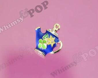1 - Sweet Little Teapot Royal Blue Enamel and Crystal Kawaii Foodie Charm, Teapot Charm, 24mm x 22mm (4-2G)