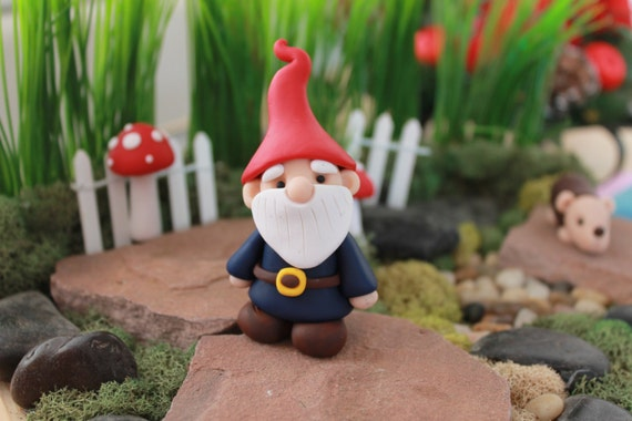 Gnome In Garden: Polymer Clay Traditional Gnome Miniature Gnome By GnomeWoods
