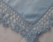 Blue Doily with Crocheted Border