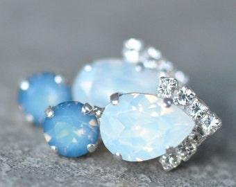 Opal Swarovski Rhinestone Post Earrings White Opal Starshine Blue Diamond Drop Earrings Studs Diamond Bridal Jewelry Celeste Mashugana