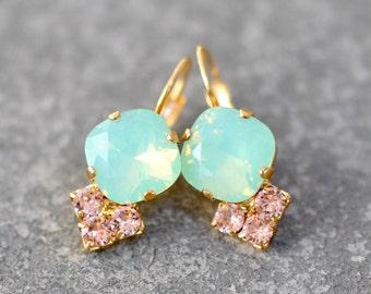 Mint Opal Pink Earrings Swarovski Crystal French Rose Pink Green Rainbow Rhinestone Tennis Leverback Earring Black Oxidized Lolita Mashugana