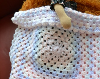 Hand crochet  Afghan blanket for Waldorf Dolls