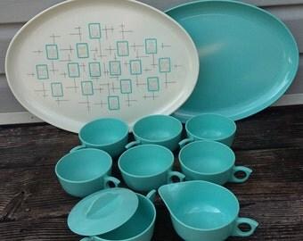 Set of Tea Cups Trays Cream and Sugar Set Miramar Melmac Dinnerware Set