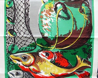 Vintage Tea Towel Green with Fish Motifs Mid Century Retro Kitsch Towel All Cotton Unused