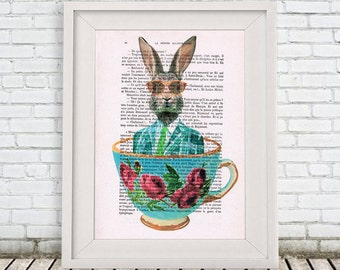 Rabbit Print, rabbit in teacup,Digital Illustration, rabbit Art, teacup Poster, rabbit in a teacup, teacup art, Alice in Wonderland