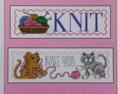 Cross Stitch Pattern KNIT & PURL By Diane Arthurs For Imaginating - Knit Cats