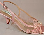 Blush Pink Low Heel Lace Wedding Slingback Brides Garden Heels Lace And Pearl Wedding Shoes Low Heel Wedding Shoes Pink Bridal Shoes