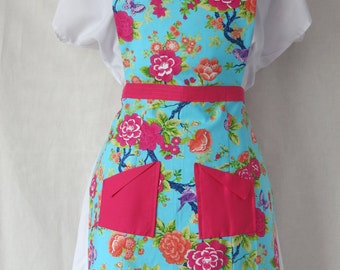 Hot Pink Flower Full Front Adult Apron with Pockets / Lavender Butterfly / Hot Pink Trim / Light blue Apron / Mommy and Me Set