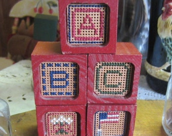 AMERICANA BLOCKS Wooden crossed stitched with A/ B/ C and flag/flower prim