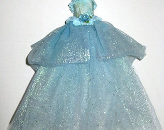 Art Assemblage Dress  Mixed Media Fabric & Paper Art Fairytale Gown