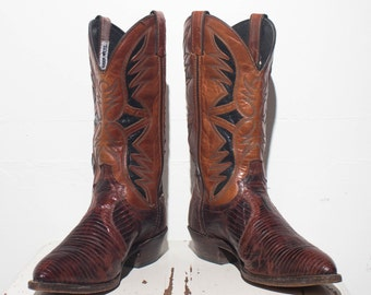 8.5 M | Men's Code West Lizard Inlay Western Boots Two Tone Brown & Black Cowboy Boots