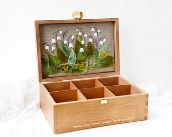 Wood tea box,  Embroidered box Lilies of the valley, Gift from mom Tea bag holder Recipes box, Tea holder, Tea organizer, Recipes box.