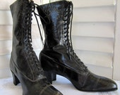 Great for Halloween, Victorian Black Leather Antique/Vintage Lace up High Top Ladies Boots 1890