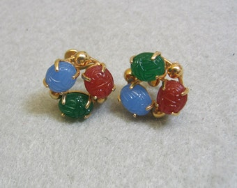 Gold Plated Scarab Screwback Earrings, Glass Scarabs