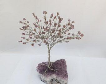 Purple Tree of Life, Amethyst and Silver Tree Wedding Cake Topper, Amethyst Wire Wrapped Tree Centerpiece, Purple Seed Bead Tree