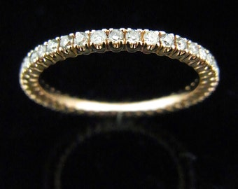 Diamonds & 14k ROSE Gold Eternity Wedding Band Estate Vintage Ring Engagement