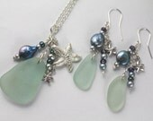 Aqua Sea Glass PEI Necklace and Earring Set with Freshwater Pearls and Starfish Charm