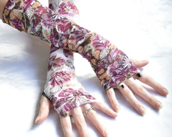 Burnout Arm Warmers Fingerless gloves sleeves gothic gloves goth - Arthrostemma - floral flower belly dance feminine boho bohemian gypsy emo