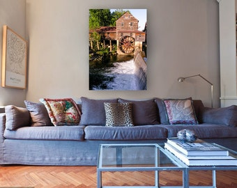 Large Wall Art Canvas, Barn Photography, Farmhouse Decor, Old Mill, Rustic Wall Decor, Brown, Water Wheel, Grits Mill, Primative Decor