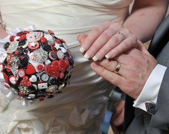 Las Vegas themed Button & Brooch Wedding Bouquet