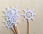 Nautical Ship Wheel Cupcake Toppers, White, Baby Shower, Wedding, Party Decor, Summer Beach Party, Pirate Party, Double-Sided, Set of 18