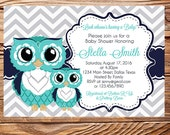 Teal Owls Baby Shower Invitation, Teal and Gray Cute owls Baby Shower Invite, Girl, boy, teal, gray, Chevron Stripes, 1618