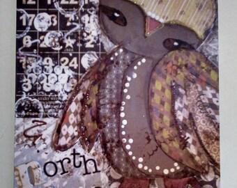Lucky the Owl Art, Owl Painting, Owl Canvas Print, Collage Print, Mixed Media Print, Owl Print Art, Kids Room Decor, Child Room, Nursery