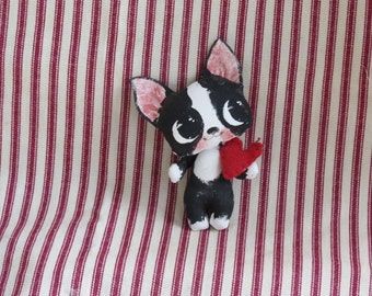 Boston Terrier doll , hand painted , puppy dog doll ,   Blythe toy ,  cloth doll ,  black and white Tuxedo , Boston puppy .