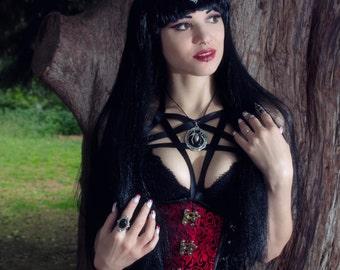 Big Spider Pendant with black onyx stone - Gothic Jewelry