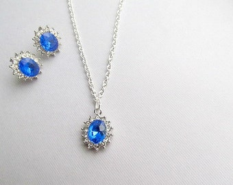 Sapphire Silver Crystal Rhinestone Wedding Necklace and Earring set, Princess Diana, Kate middleton