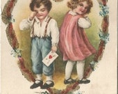 Little Boy Crying because Girl Discarded his Love framed in Pink Ribbon & Forget-Me-Nots Clear Glass Bead accent Valentine  Vintage Postcard