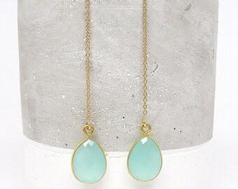Gold Gemstone Threaders - Earring Threader - Earring Threads