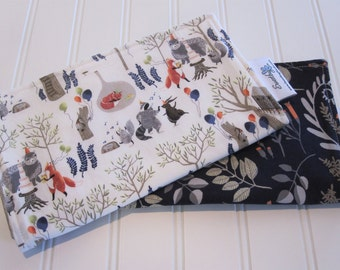 Burp Cloths/Set of Two/Foxtail Forest/Cotton Front/Organic Cotton Double Flannel Backing