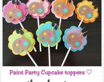 Art, Paint theme Cupcake toppers. Paint party, Arthur party