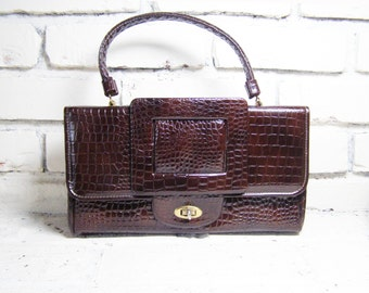 Mock Croc Brown Handbag - Vintage by Grenada U.S.A., Faux Reptile and Stylish Big Buckle, Adorable and Trendy
