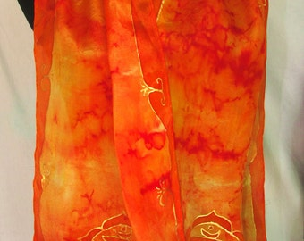 Orange chakra silk scarf/shawl, spiritual gift,orange scarf, sacral chakra, womens gift, chakra art, yoga wear, reiki, goddess,prayer scarf